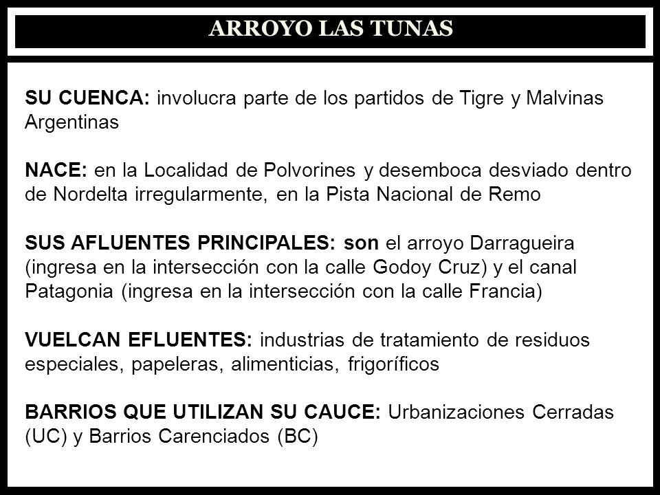 ARROYO LAS TUNAS: DESCARGAS EFLUENTES INDUSTRIALES: hay dos sectores principales, uno de las zonas aledañas al Barrio San Lorenzo y otro de la intersección del arroyo con la Av.