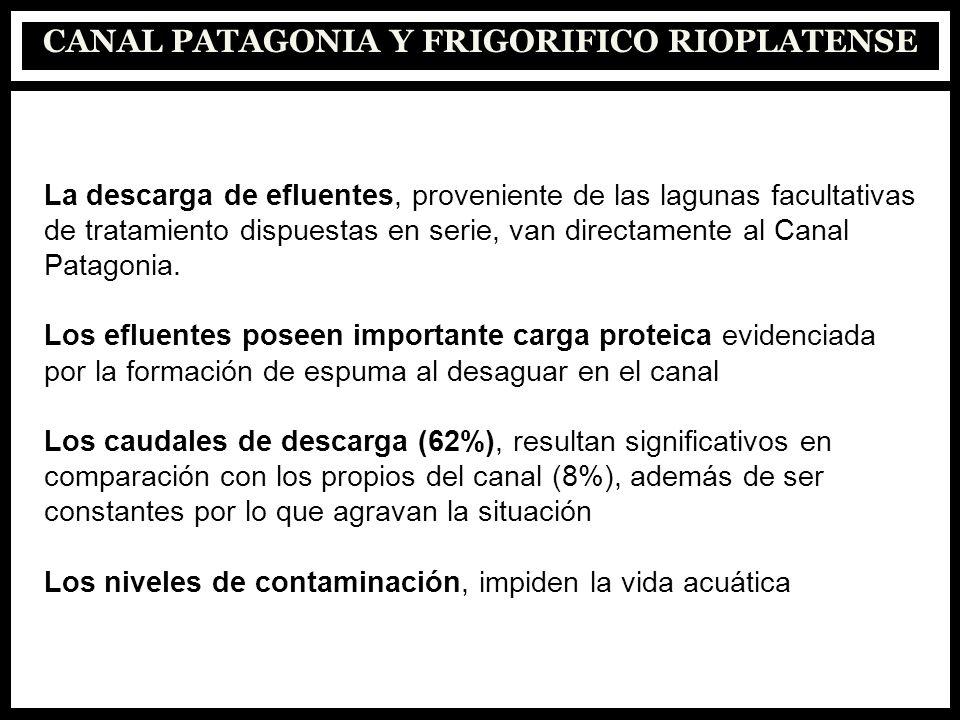 La descarga de efluentes, proveniente de las lagunas facultativas de tratamiento dispuestas en serie, van directamente al Canal Patagonia. Los efluent