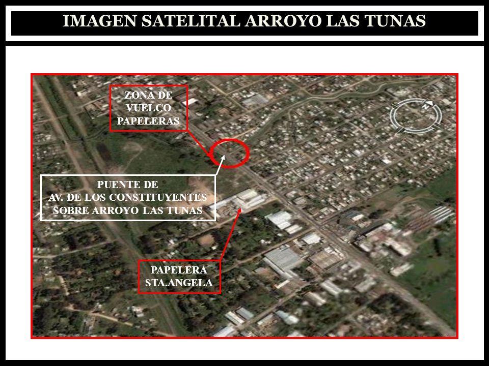 IMAGEN SATELITAL ARROYO LAS TUNAS ZONA DE VUELCO PAPELERAS PUENTE DE AV. DE LOS CONSTITUYENTES SOBRE ARROYO LAS TUNAS PAPELERA STA.ANGELA