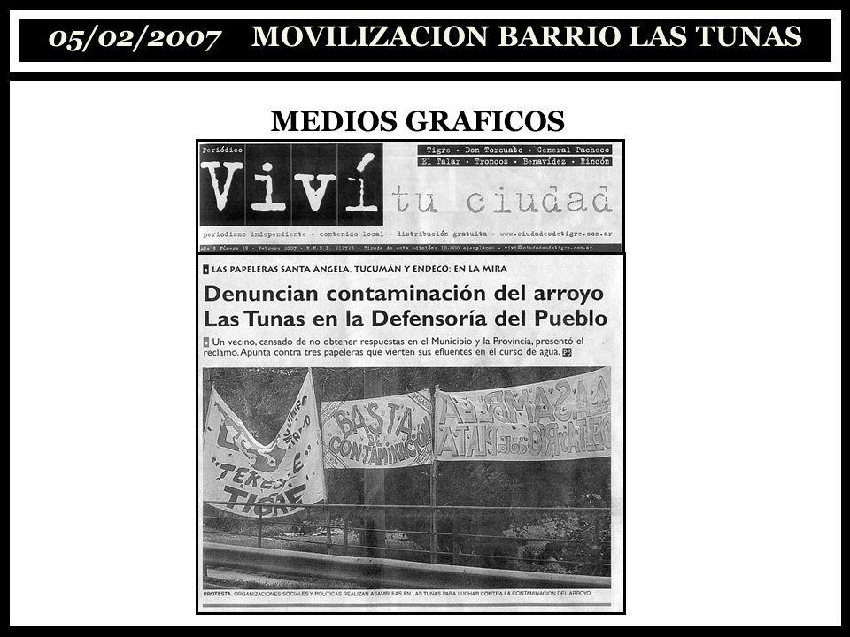 05/02/2007 MOVILIZACION BARRIO LAS TUNAS MEDIOS GRAFICOS
