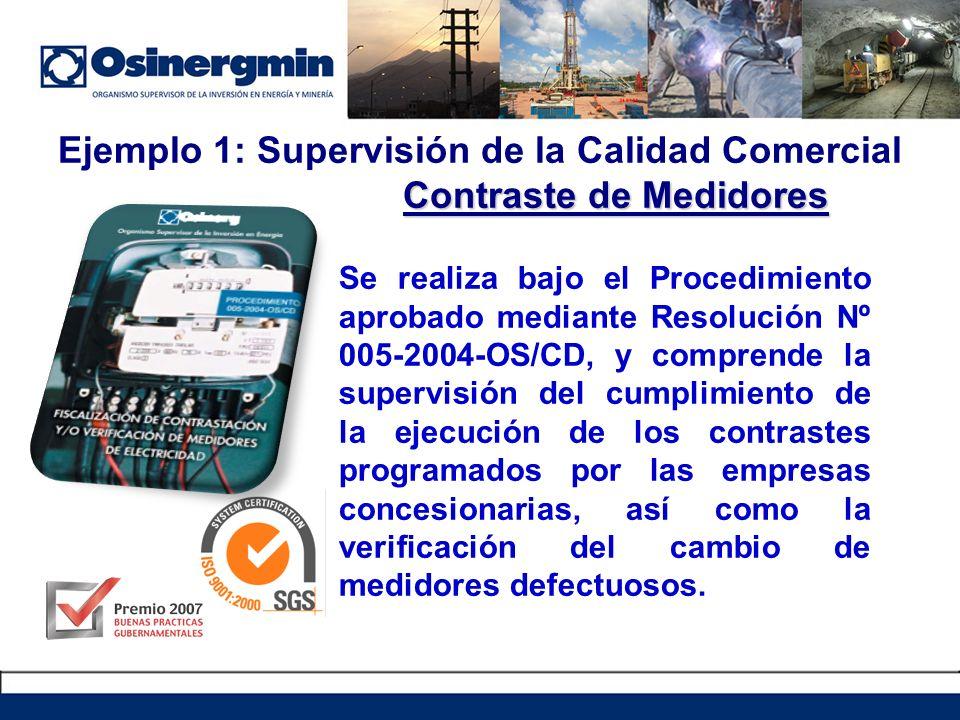 Se realiza bajo el Procedimiento aprobado mediante Resolución Nº 005-2004-OS/CD, y comprende la supervisión del cumplimiento de la ejecución de los contrastes programados por las empresas concesionarias, así como la verificación del cambio de medidores defectuosos.