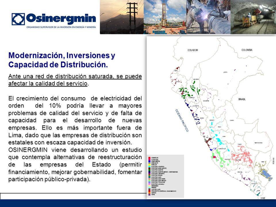 Modernización, Inversiones y Capacidad de Distribución. Ante una red de distribución saturada, se puede afectar la calidad del servicio. El crecimient