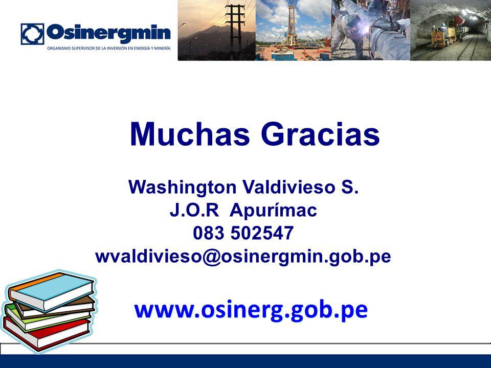 Muchas Gracias Washington Valdivieso S. J.O.R Apurímac 083 502547 wvaldivieso@osinergmin.gob.pe