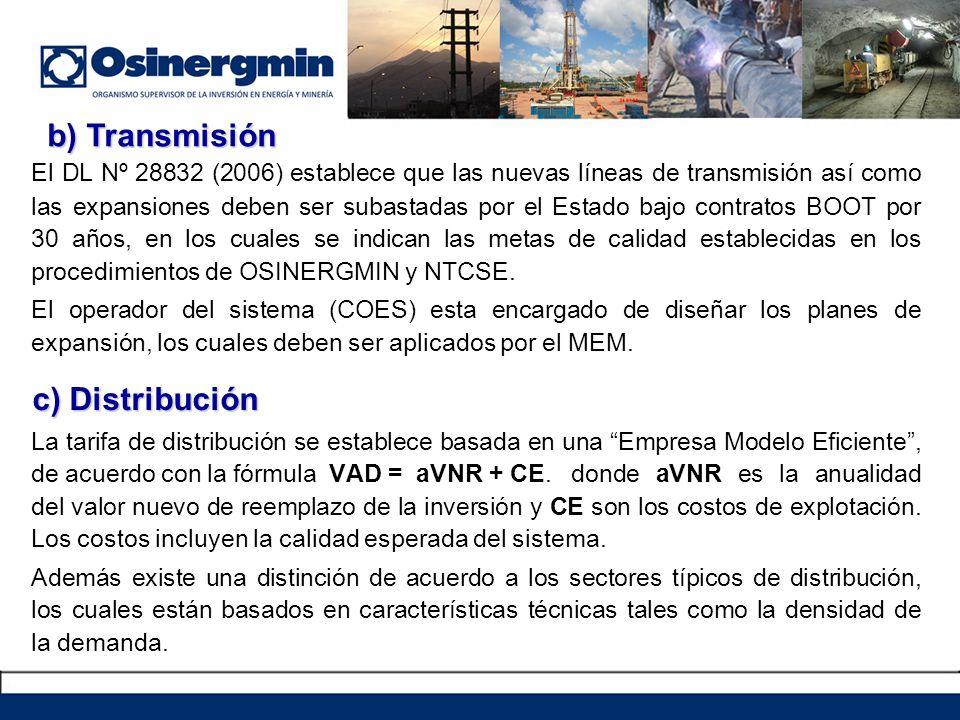 El DL Nº 28832 (2006) establece que las nuevas líneas de transmisión así como las expansiones deben ser subastadas por el Estado bajo contratos BOOT p
