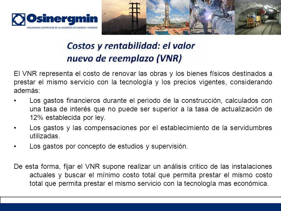 El VNR representa el costo de renovar las obras y los bienes físicos destinados a prestar el mismo servicio con la tecnología y los precios vigentes,