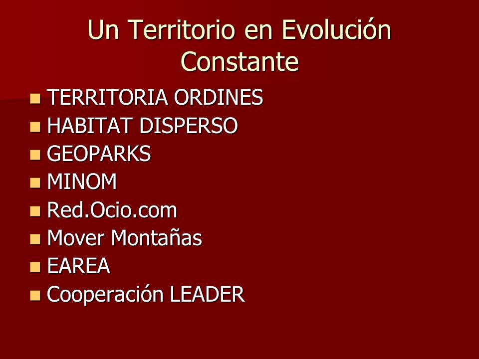 Un Territorio en Evolución Constante TERRITORIA ORDINES TERRITORIA ORDINES HABITAT DISPERSO HABITAT DISPERSO GEOPARKS GEOPARKS MINOM MINOM Red.Ocio.co