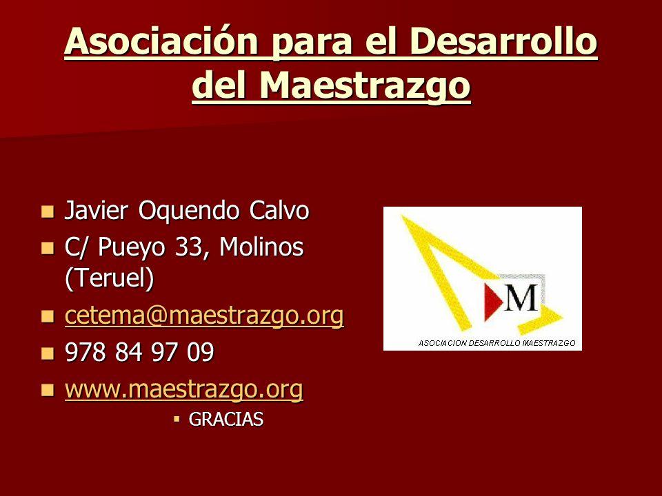 Asociación para el Desarrollo del Maestrazgo Javier Oquendo Calvo Javier Oquendo Calvo C/ Pueyo 33, Molinos (Teruel) C/ Pueyo 33, Molinos (Teruel) cet