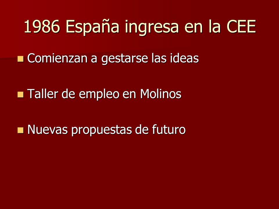 1986 España ingresa en la CEE Comienzan a gestarse las ideas Comienzan a gestarse las ideas Taller de empleo en Molinos Taller de empleo en Molinos Nu