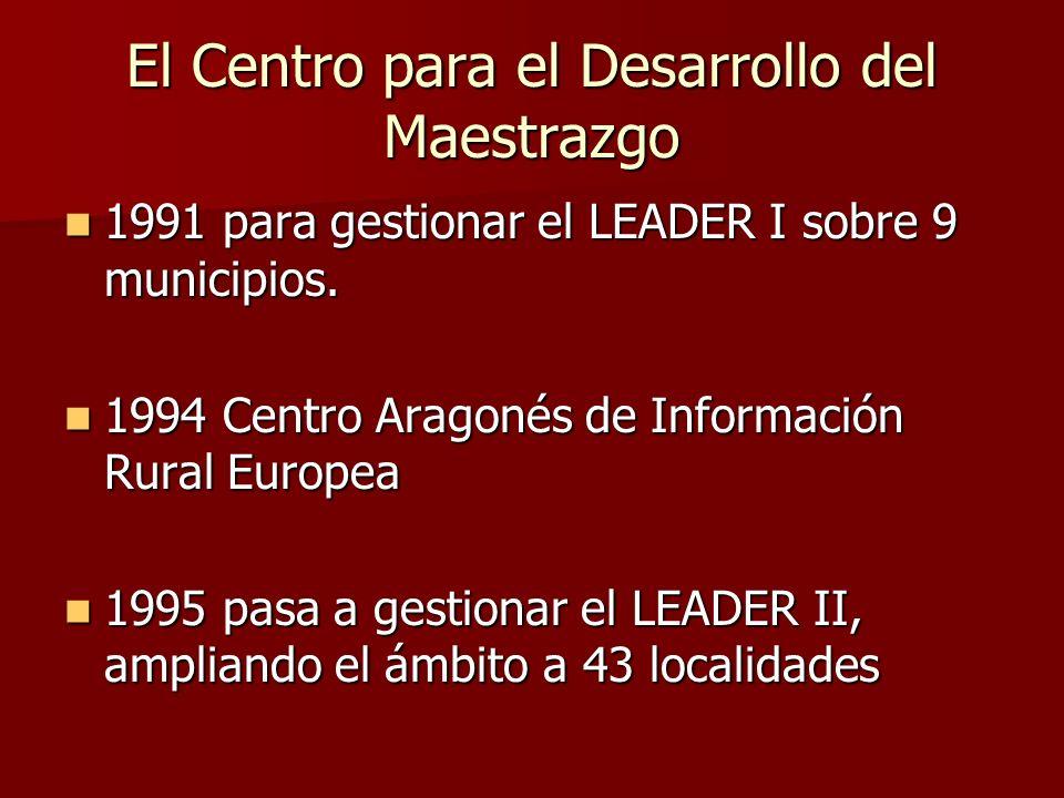 El Centro para el Desarrollo del Maestrazgo 1991 para gestionar el LEADER I sobre 9 municipios. 1991 para gestionar el LEADER I sobre 9 municipios. 19