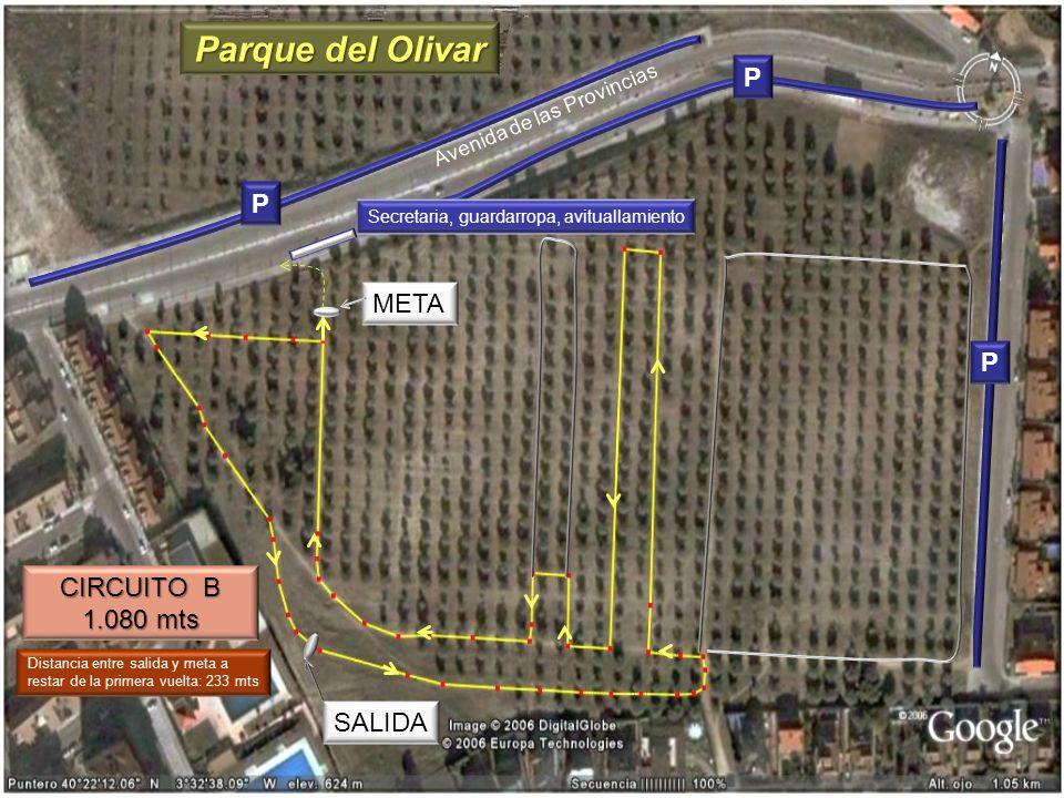 CIRCUITO B 1.080 mts META SALIDA Avenida de las Provincias P P P Distancia entre salida y meta a restar de la primera vuelta: 233 mts Parque del Oliva