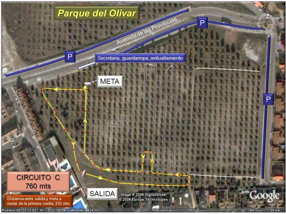 CIRCUITO C 760 mts META SALIDA Avenida de las Provincias P P P Distancia entre salida y meta a restar de la primera vuelta: 233 mts Parque del Olivar
