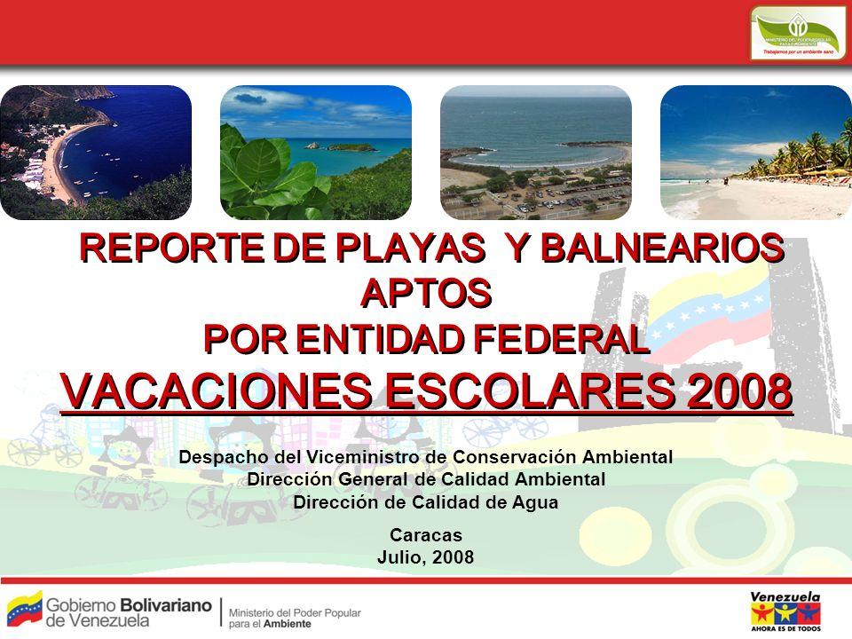 REPORTE DE PLAYAS Y BALNEARIOS APTOS POR ENTIDAD FEDERAL VACACIONES ESCOLARES 2008 REPORTE DE PLAYAS Y BALNEARIOS APTOS POR ENTIDAD FEDERAL VACACIONES ESCOLARES 2008 Despacho del Viceministro de Conservación Ambiental Dirección General de Calidad Ambiental Dirección de Calidad de Agua Caracas Julio, 2008