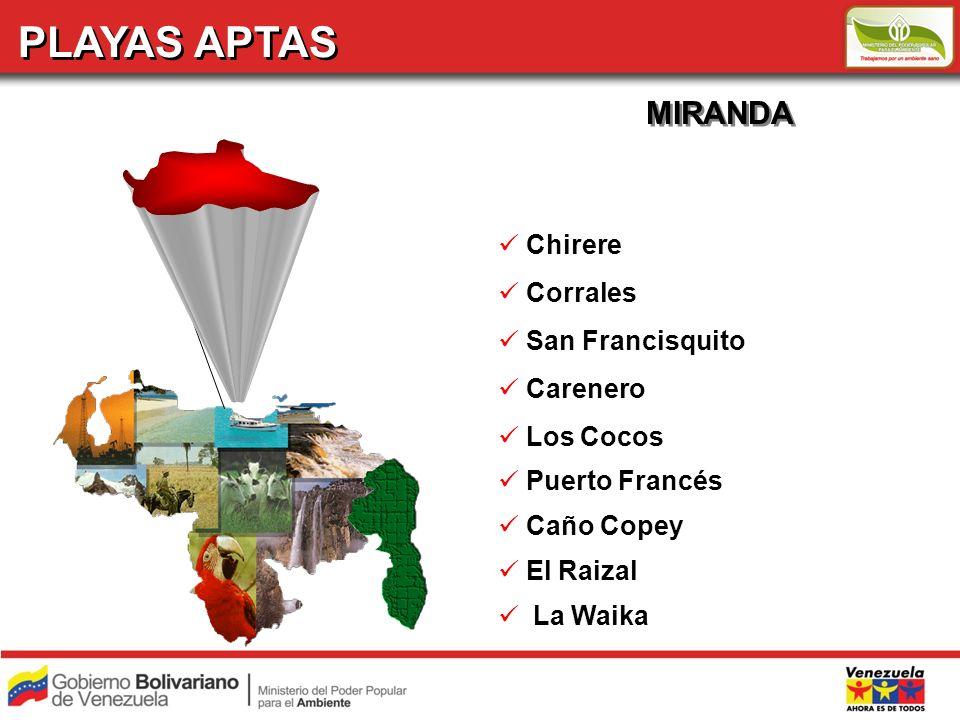 PLAYAS APTAS MIRANDA Chirere Corrales San Francisquito Carenero Los Cocos Puerto Francés Caño Copey El Raizal La Waika