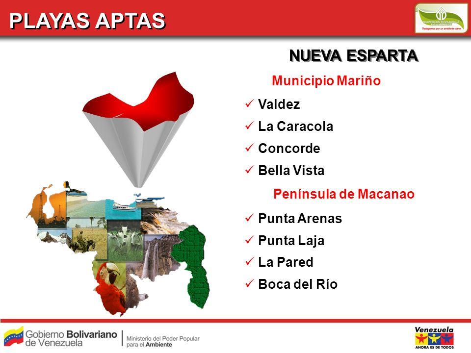 PLAYAS APTAS NUEVA ESPARTA Municipio Mariño Valdez La Caracola Concorde Bella Vista Península de Macanao Punta Arenas Punta Laja La Pared Boca del Río