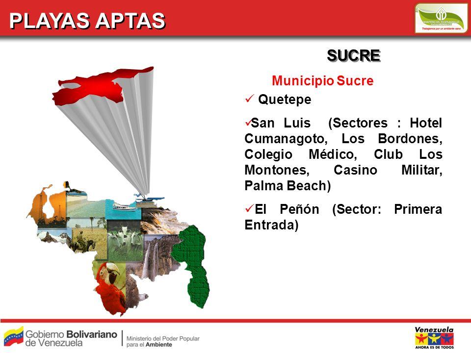 PLAYAS APTAS SUCRE Municipio Sucre Quetepe San Luis (Sectores : Hotel Cumanagoto, Los Bordones, Colegio Médico, Club Los Montones, Casino Militar, Pal