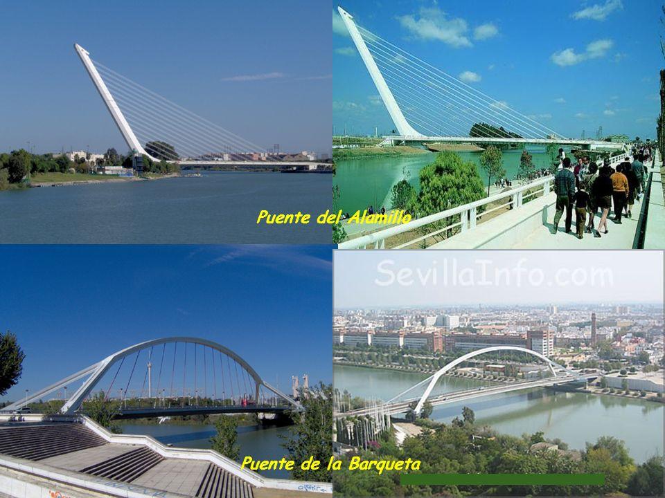 Puente de la Barqueta y Puente del Alamillo, y en primer término, teleférico durante la Exposición Universal de 1992. A la izquierda recinto de la Exp