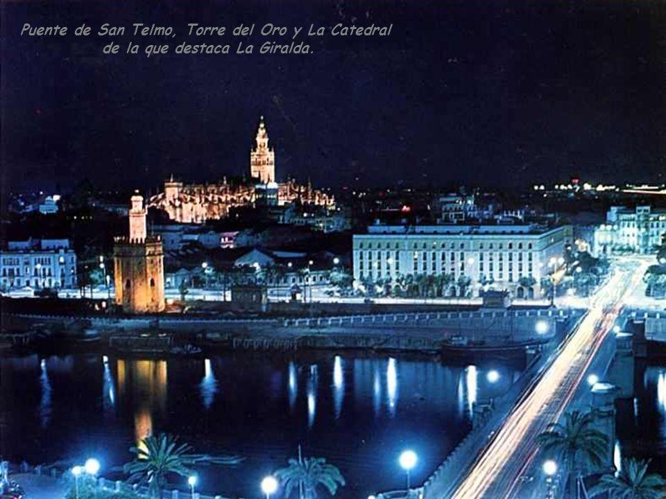 Barrio de Triana En primer término Puente de San Telmo y al fondo Puente de Triana. A la derecha Palacio de San Telmo Presidencia del Gobierno Andaluz