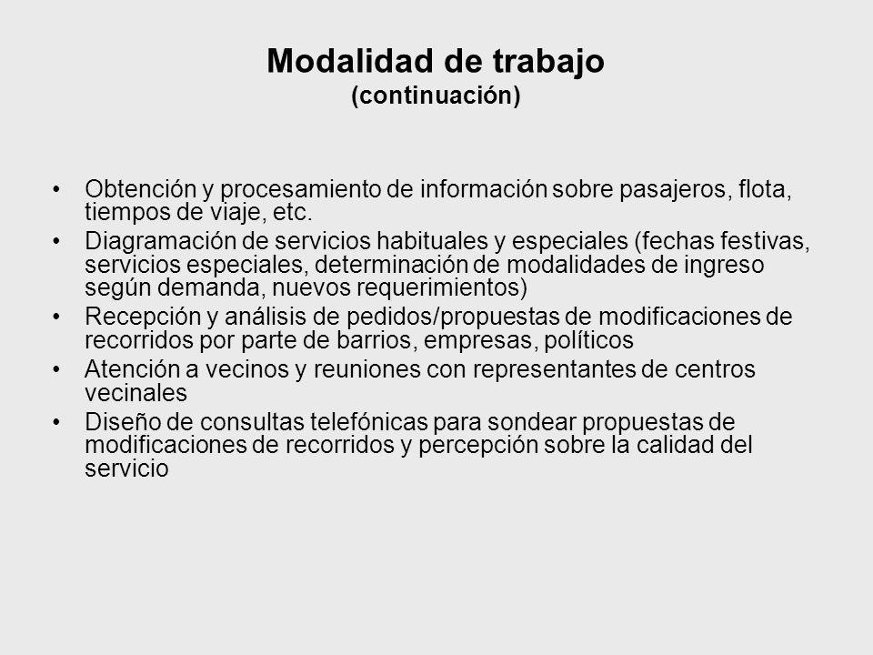 Modalidad de trabajo (continuación) Obtención y procesamiento de información sobre pasajeros, flota, tiempos de viaje, etc. Diagramación de servicios