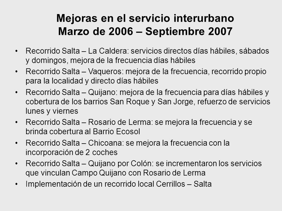 Mejoras en el servicio interurbano Marzo de 2006 – Septiembre 2007 Recorrido Salta – La Caldera: servicios directos días hábiles, sábados y domingos,