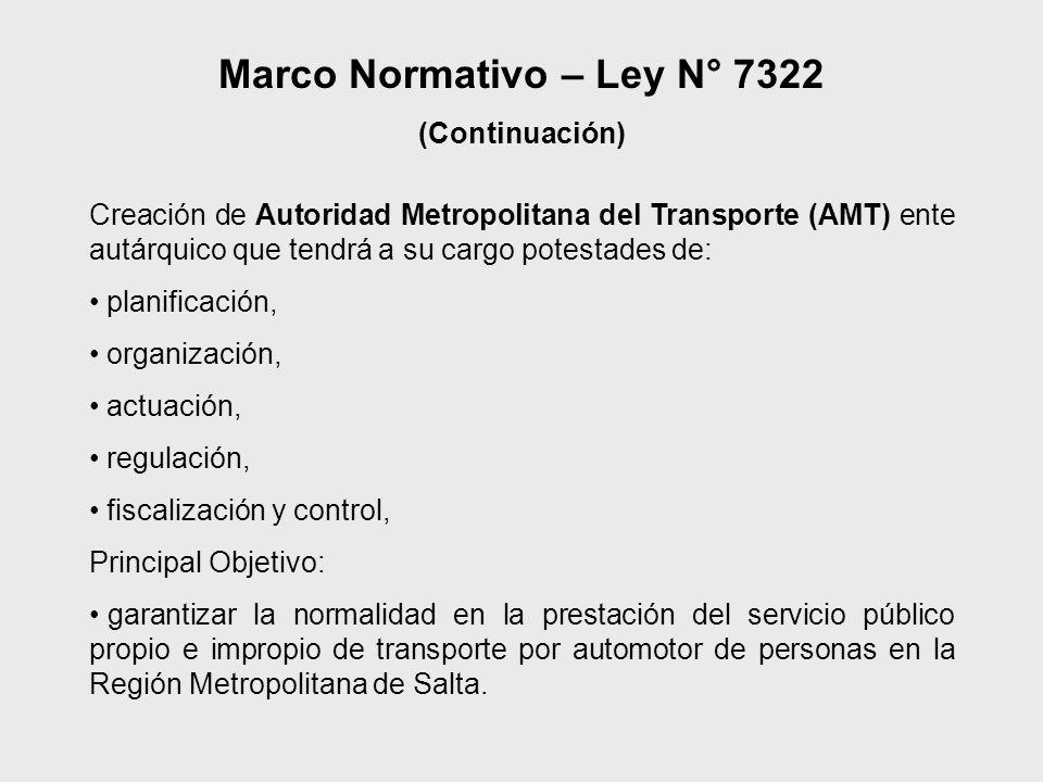 Creación de Autoridad Metropolitana del Transporte (AMT) ente autárquico que tendrá a su cargo potestades de: planificación, organización, actuación,