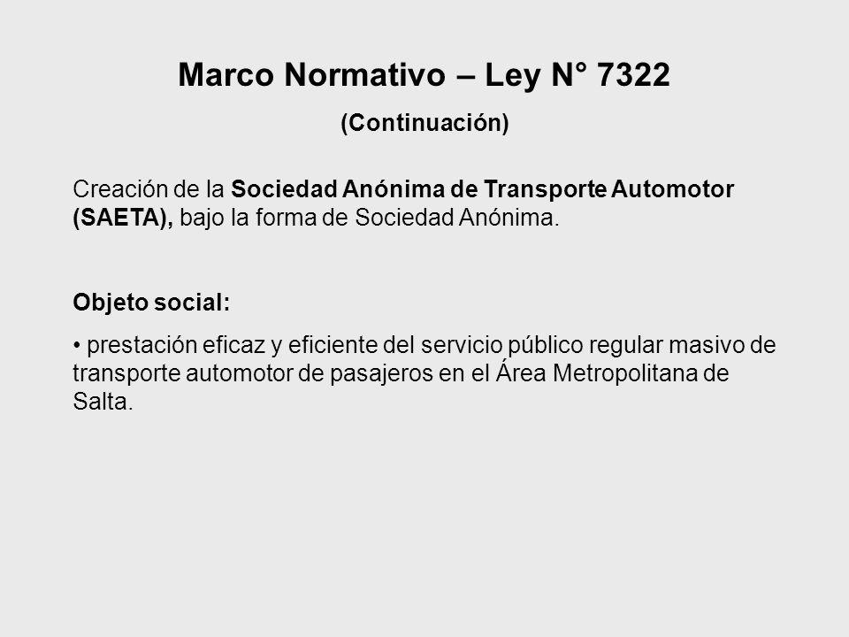 Principales objetivos del funcionamiento de SAETA Proporcionar una solución estructural al transporte automotor urbano e interurbano del Área Metropolitana de Salta Proveer a los usuarios de un transporte de calidad.