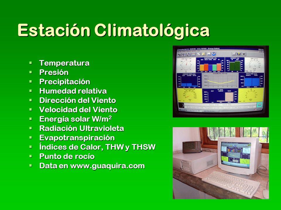 Estación Climatológica Temperatura Temperatura Presión Presión Precipitación Precipitación Humedad relativa Humedad relativa Dirección del Viento Dirección del Viento Velocidad del Viento Velocidad del Viento Energía solar W/m 2 Energía solar W/m 2 Radiación Ultravioleta Radiación Ultravioleta Evapotranspiración Evapotranspiración Índices de Calor, THW y THSW Índices de Calor, THW y THSW Punto de rocío Punto de rocío Data en www.guaquira.com Data en www.guaquira.com