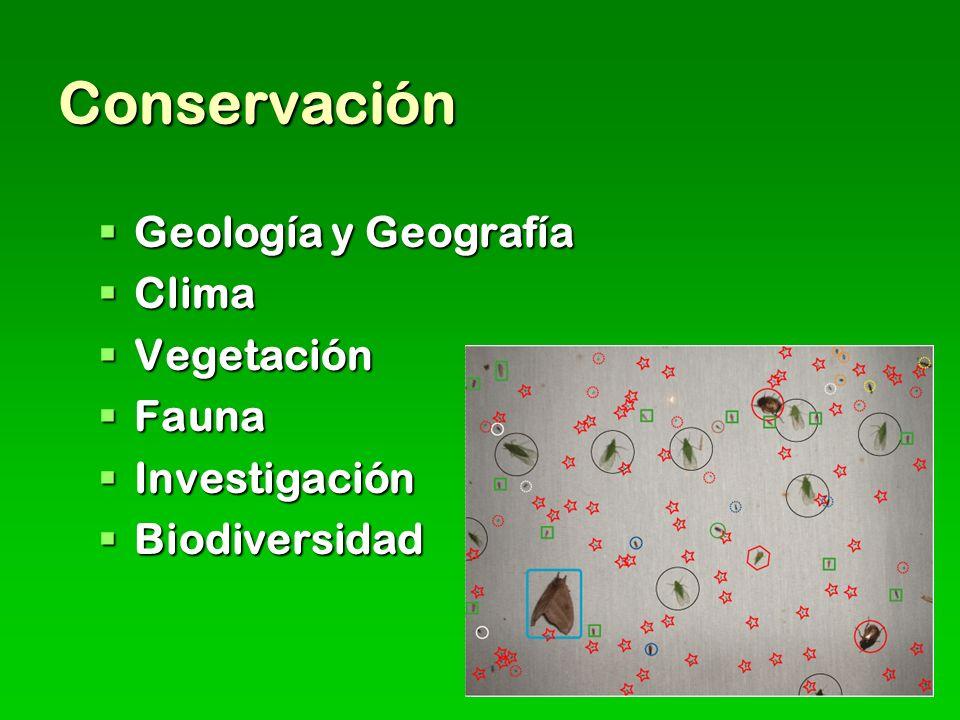 Conservación Geología y Geografía Geología y Geografía Clima Clima Vegetación Vegetación Fauna Fauna Investigación Investigación Biodiversidad Biodiversidad