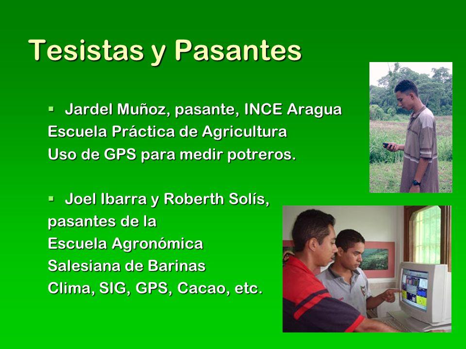 Tesistas y Pasantes Jardel Muñoz, pasante, INCE Aragua Jardel Muñoz, pasante, INCE Aragua Escuela Práctica de Agricultura Uso de GPS para medir potreros.