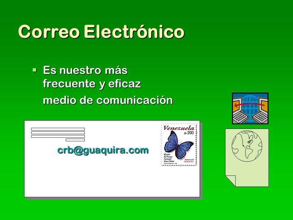 Correo Electrónico Es nuestro más frecuente y eficaz Es nuestro más frecuente y eficaz medio de comunicación crb@guaquira.com crb@guaquira.com