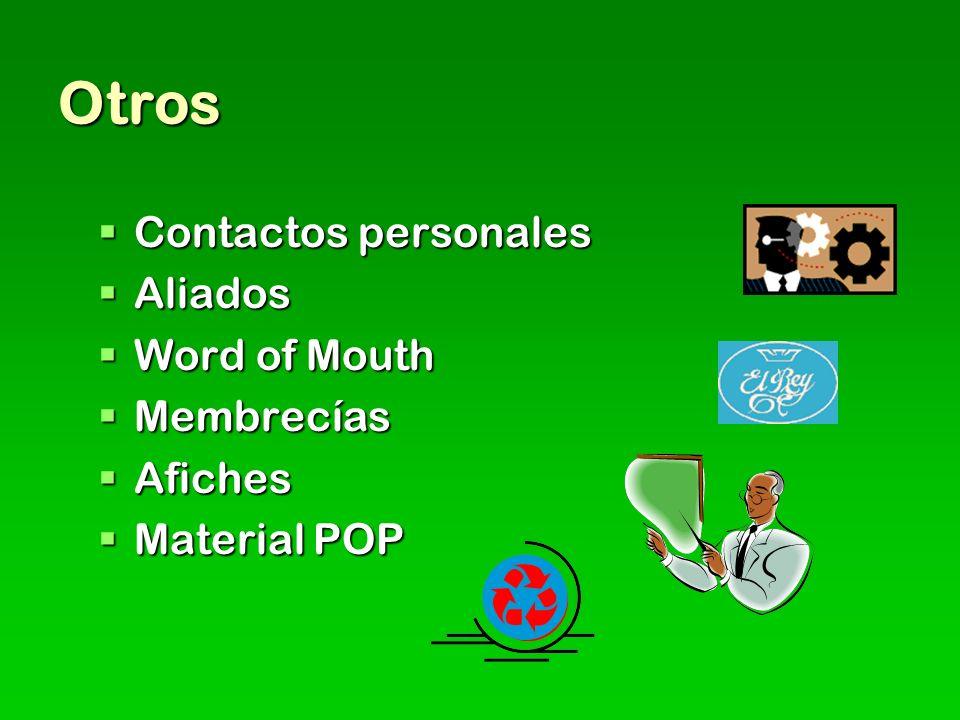 Otros Contactos personales Contactos personales Aliados Aliados Word of Mouth Word of Mouth Membrecías Membrecías Afiches Afiches Material POP Material POP