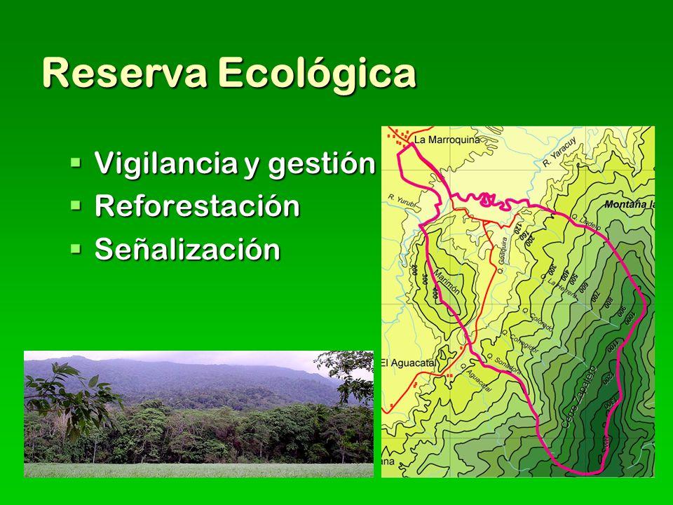 Reserva Ecológica Vigilancia y gestión Vigilancia y gestión Reforestación Reforestación Señalización Señalización