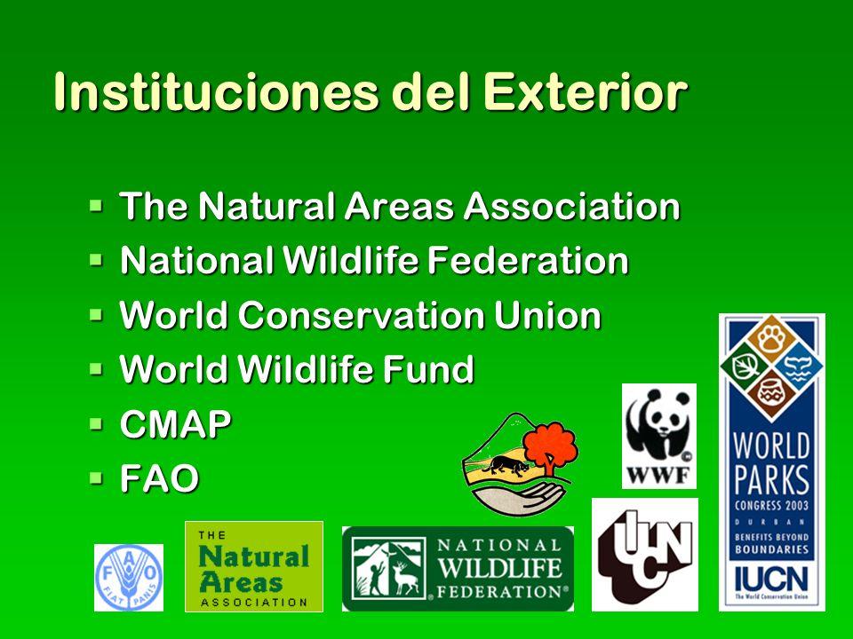 Instituciones del Exterior The Natural Areas Association The Natural Areas Association National Wildlife Federation National Wildlife Federation World Conservation Union World Conservation Union World Wildlife Fund World Wildlife Fund CMAP CMAP FAO FAO