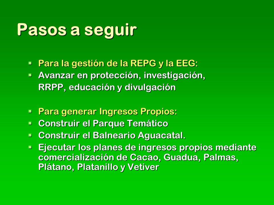 Pasos a seguir Para la gestión de la REPG y la EEG: Para la gestión de la REPG y la EEG: Avanzar en protección, investigación, Avanzar en protección, investigación, RRPP, educación y divulgación Para generar Ingresos Propios: Para generar Ingresos Propios: Construir el Parque Temático Construir el Parque Temático Construir el Balneario Aguacatal.