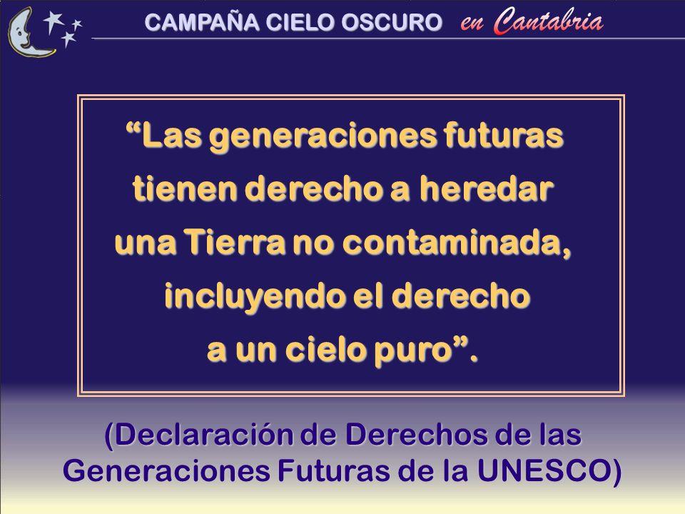CAMPAÑA CIELO OSCURO Las generaciones futuras tienen derecho a heredar una Tierra no contaminada, incluyendo el derecho incluyendo el derecho a un cie
