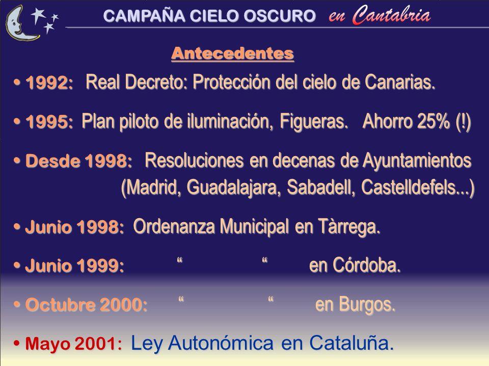 CAMPAÑA CIELO OSCURO 1992: Real Decreto: Protección del cielo de Canarias. 1992: Real Decreto: Protección del cielo de Canarias. 1995: Plan piloto de
