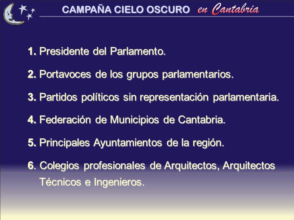 CAMPAÑA CIELO OSCURO 1. Presidente del Parlamento. 2. Portavoces de los grupos parlamentarios. 3. Partidos políticos sin representación parlamentaria.