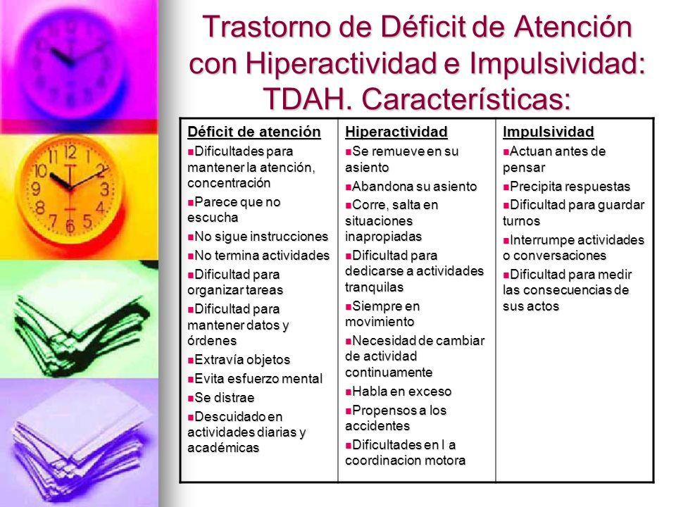 Trastorno de Déficit de Atención con Hiperactividad e Impulsividad: TDAH.