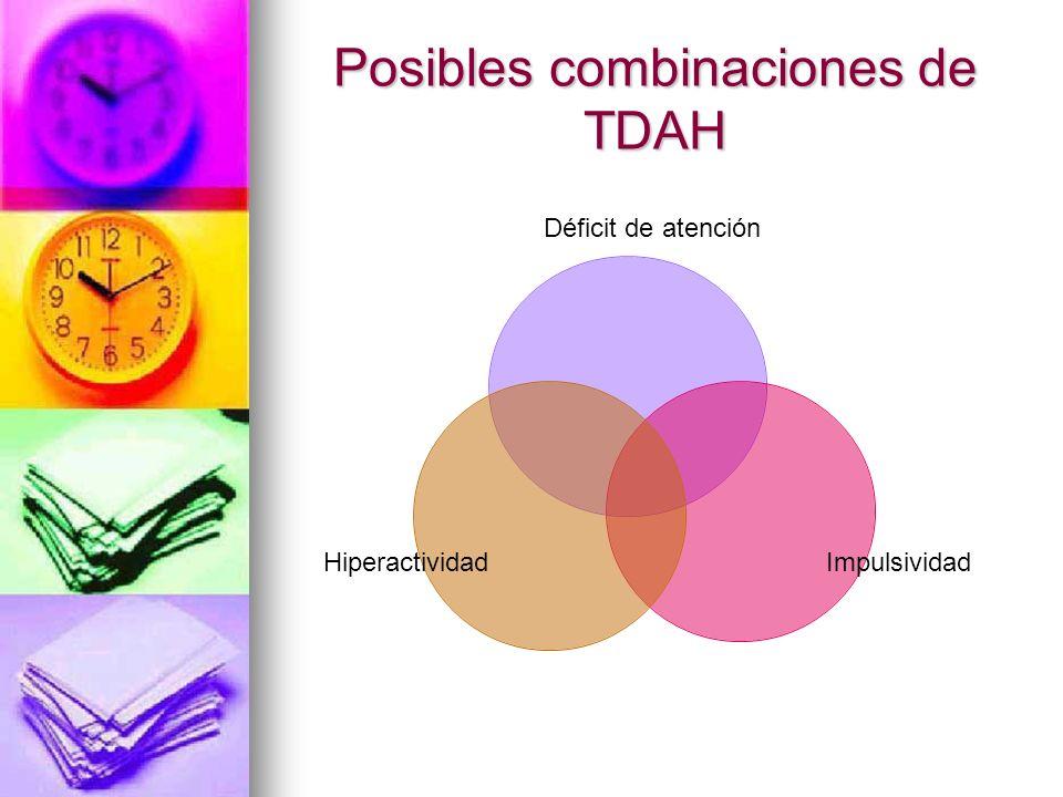 Posibles combinaciones de TDAH Déficit de atención ImpulsividadHiperactividad