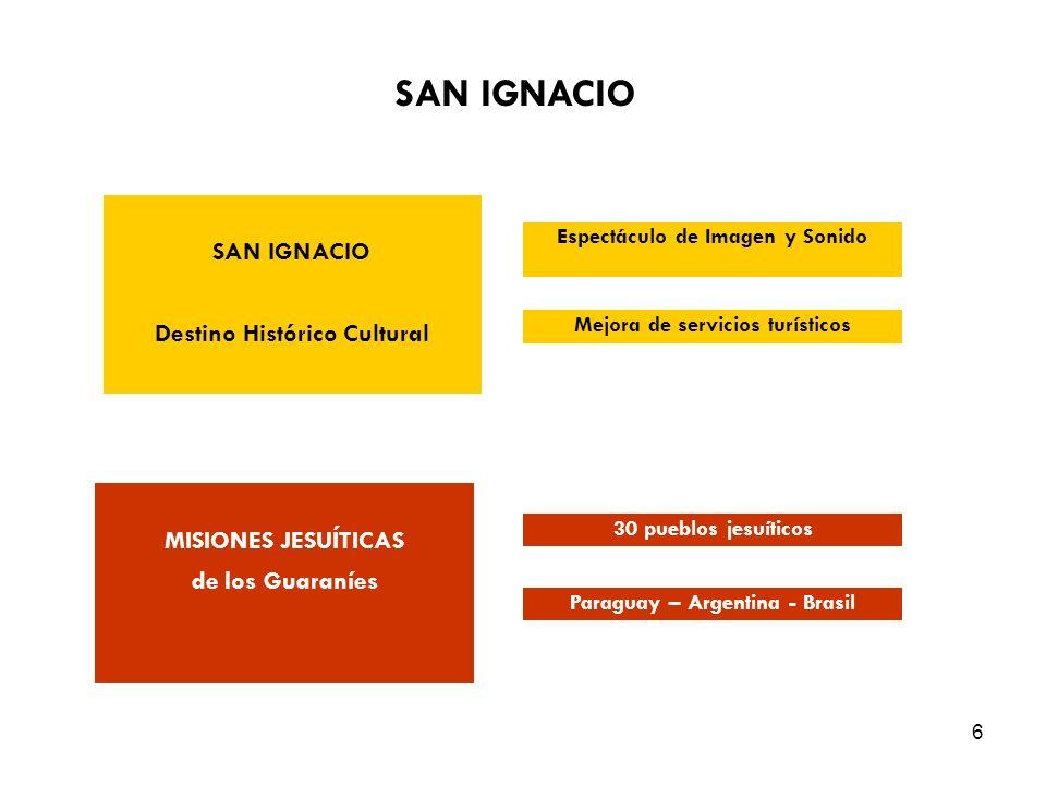 6 SAN IGNACIO Destino Histórico Cultural MISIONES JESUÍTICAS de los Guaraníes Espectáculo de Imagen y Sonido Mejora de servicios turísticos 30 pueblos jesuíticos Paraguay – Argentina - Brasil SAN IGNACIO