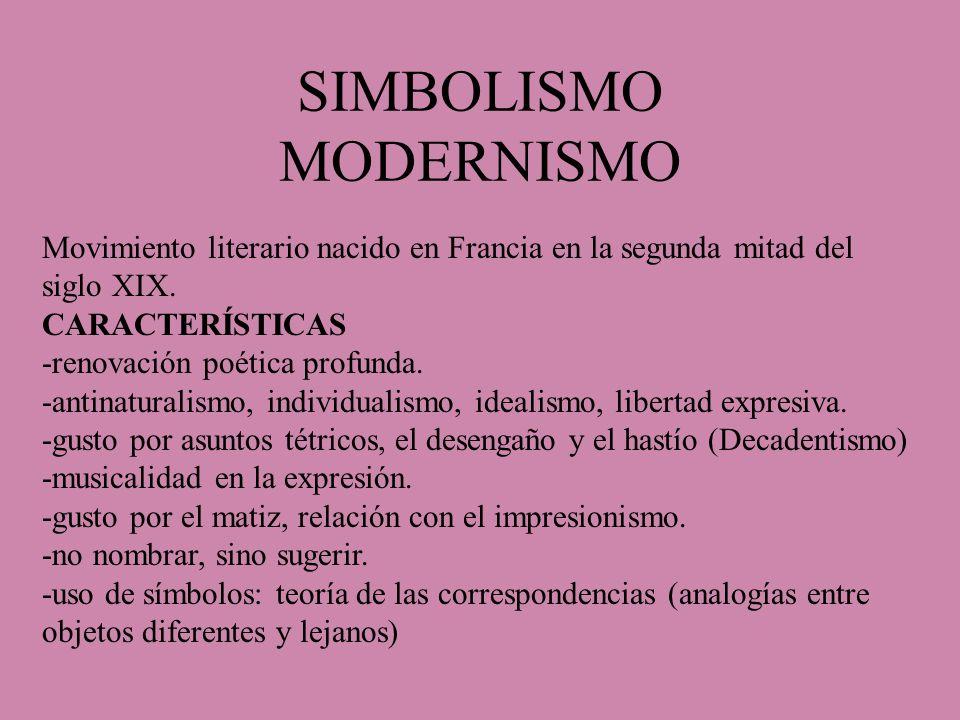 SIMBOLISMO MODERNISMO Movimiento literario nacido en Francia en la segunda mitad del siglo XIX. CARACTERÍSTICAS -renovación poética profunda. -antinat