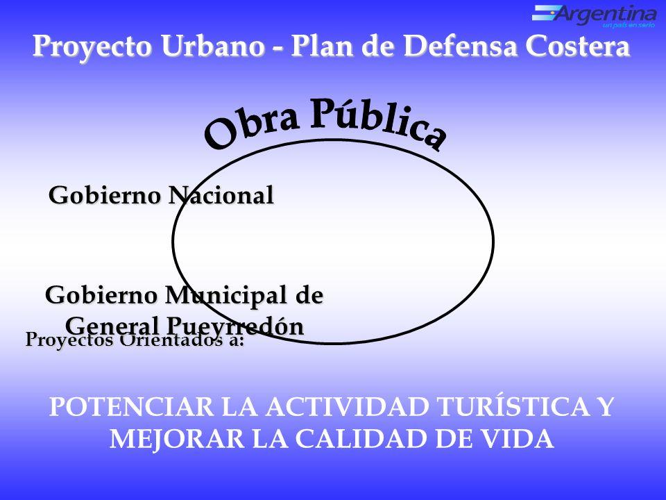 Proyecto Urbano - Plan de Defensa Costera Gobierno Nacional POTENCIAR LA ACTIVIDAD TURÍSTICA Y MEJORAR LA CALIDAD DE VIDA Proyectos Orientados a: Gobierno Municipal de General Pueyrredón