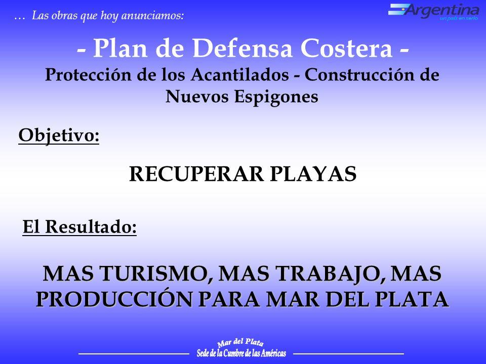 … Las obras que hoy anunciamos: RECUPERAR PLAYAS - Plan de Defensa Costera - Protección de los Acantilados - Construcción de Nuevos Espigones MAS TURISMO, MAS TRABAJO, MAS PRODUCCIÓN PARA MAR DEL PLATA Objetivo: El Resultado: