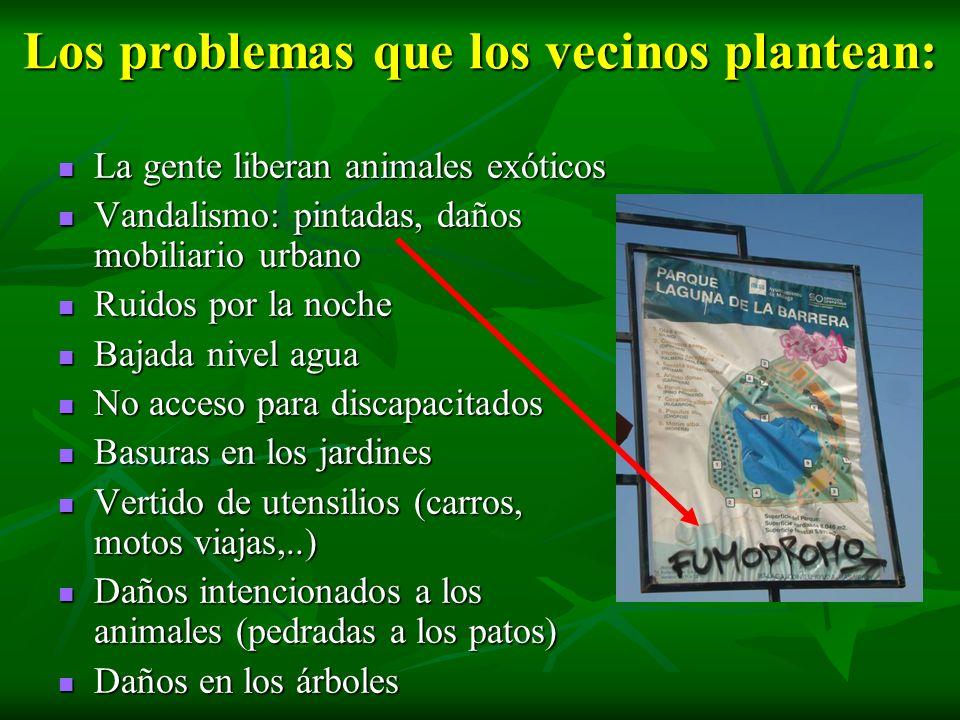 Los problemas que los vecinos plantean: La gente liberan animales exóticos La gente liberan animales exóticos Vandalismo: pintadas, daños mobiliario u