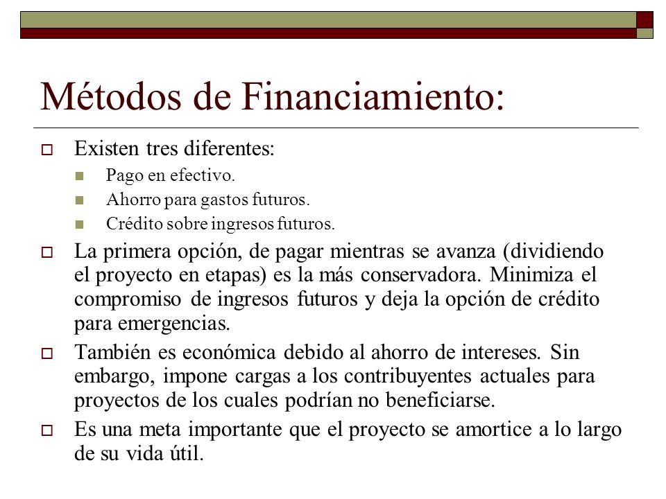 Métodos de Financiamiento: Existen tres diferentes: Pago en efectivo. Ahorro para gastos futuros. Crédito sobre ingresos futuros. La primera opción, d