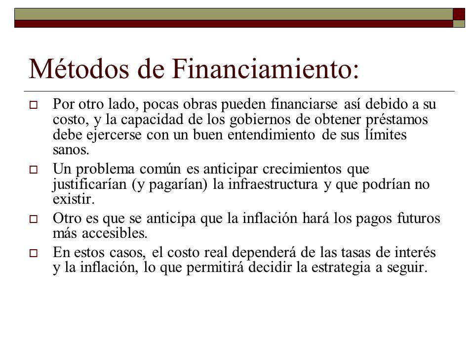 Métodos de Financiamiento: Por otro lado, pocas obras pueden financiarse así debido a su costo, y la capacidad de los gobiernos de obtener préstamos d