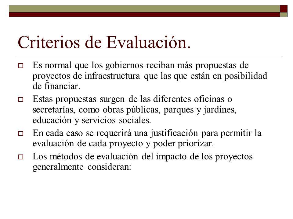Criterios de Evaluación. Es normal que los gobiernos reciban más propuestas de proyectos de infraestructura que las que están en posibilidad de financ