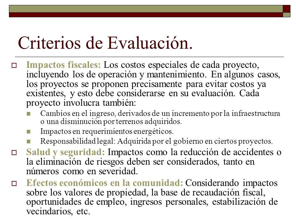Criterios de Evaluación. Impactos fiscales: Los costos especiales de cada proyecto, incluyendo los de operación y mantenimiento. En algunos casos, los