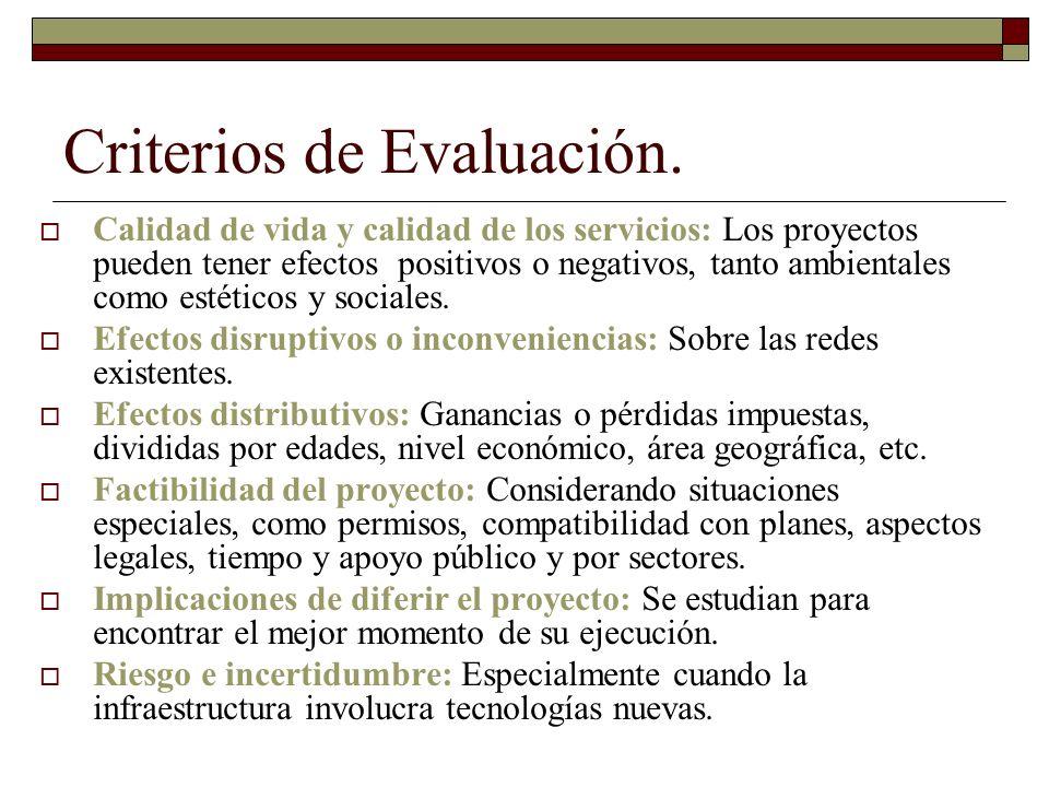 Criterios de Evaluación. Calidad de vida y calidad de los servicios: Los proyectos pueden tener efectos positivos o negativos, tanto ambientales como
