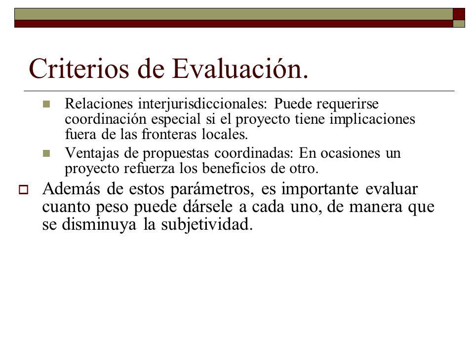 Criterios de Evaluación. Relaciones interjurisdiccionales: Puede requerirse coordinación especial si el proyecto tiene implicaciones fuera de las fron