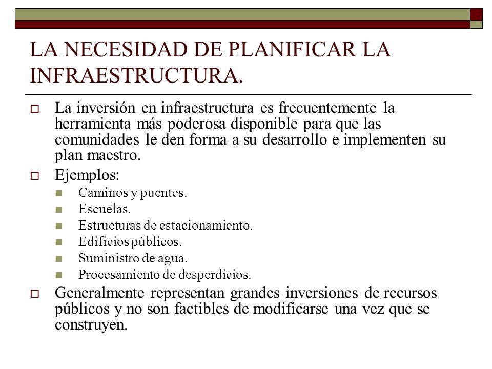 LA NECESIDAD DE PLANIFICAR LA INFRAESTRUCTURA. La inversión en infraestructura es frecuentemente la herramienta más poderosa disponible para que las c
